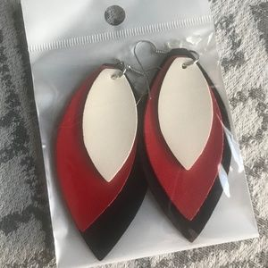 Jewelry - Faux Leather Tri-Color Dangle Earrings